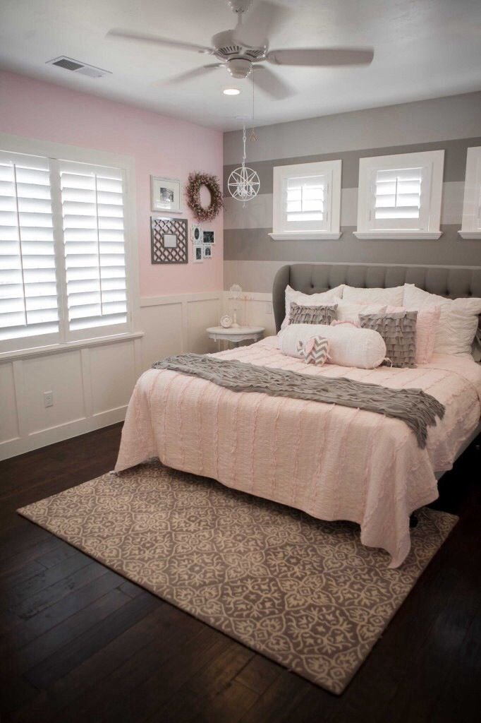 Pink and Gray Bedroom Decor New Pink and Grey Room Love the Wainscoting Two tone Grey Wall Bedding and Flooring Would Change