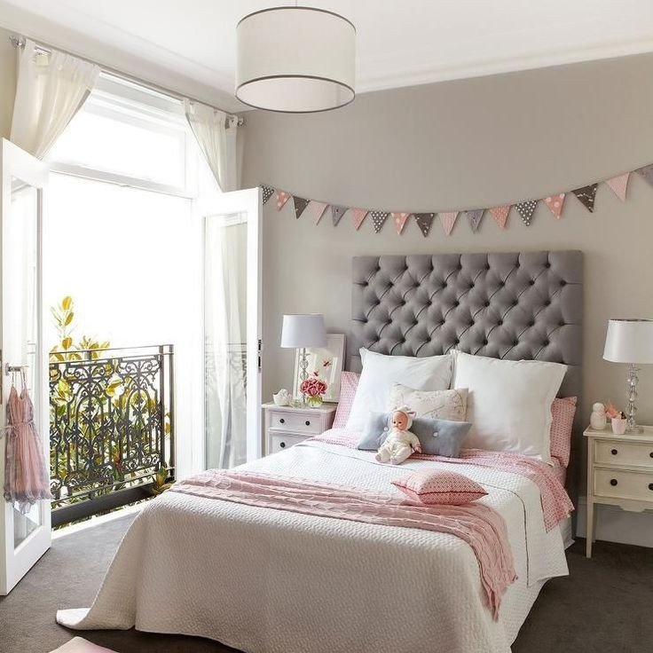 Pink and Gray Room Decor Fresh Pink and Gray Girl S Room Features Walls Painted A Warm Gray Lined with A Pink and Gray Banner