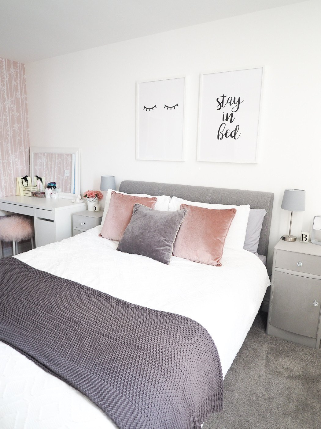 Pink and Gray Room Decor Luxury Bedroom tour