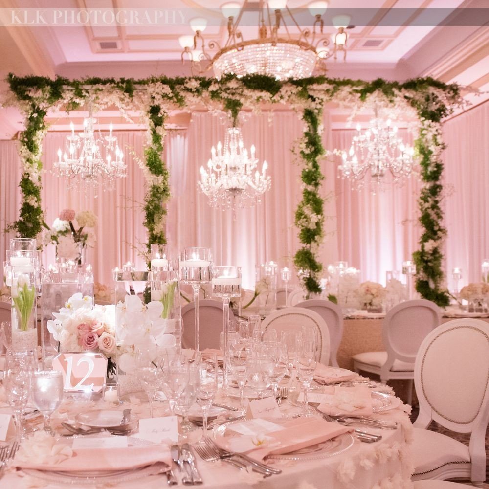 Pink and White Wedding Decor Lovely All Pink Wedding Reception Greenery Green Garlands White and Light Pink Room Crystal