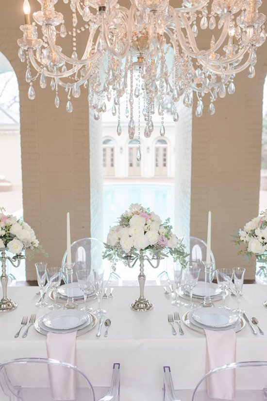 Pink and White Wedding Decor Lovely Blog Silver Pink and Crystal Classic Wedding