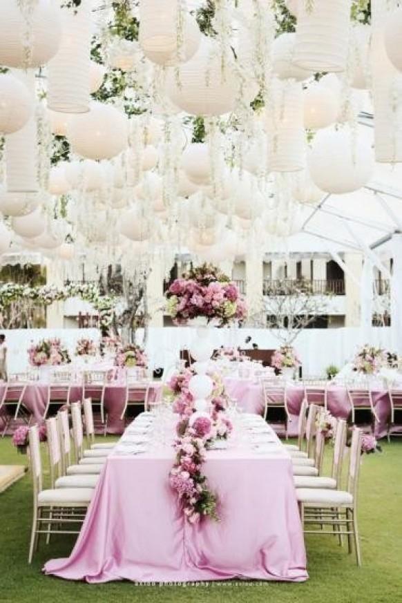 Pink and White Wedding Decor New Pink Garden Wedding Decoration ♥ Chinese White Paper Lantern Weddbook