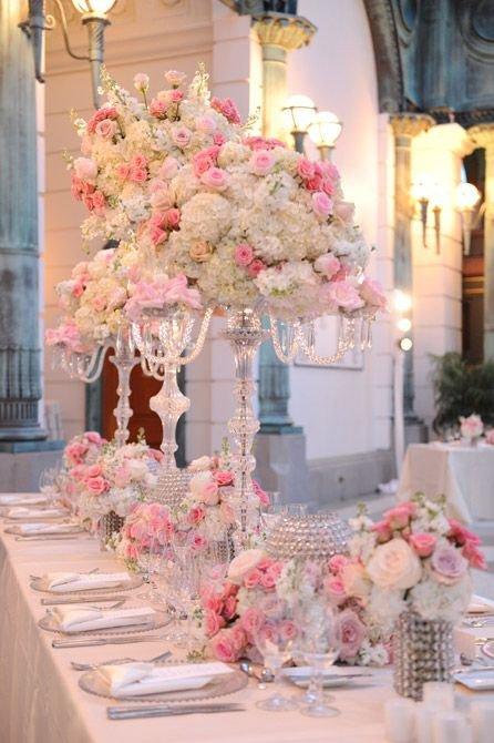 Pink and White Wedding Decor Unique Elegant Pink Green and White Wedding Decor with Crystal Accents