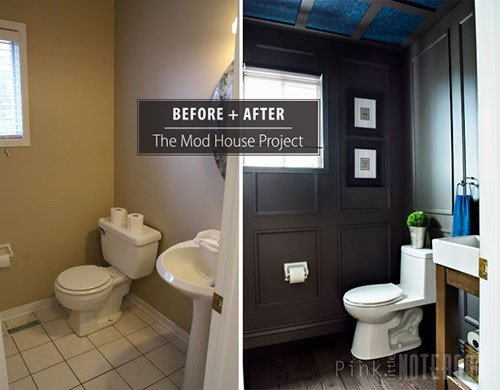 Powder Room Wall Decor Ideas Elegant Reveal Dated Powder Room Gets A Moody Makeover