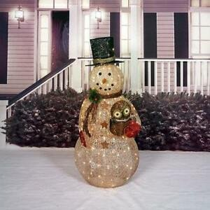 "Pre Lit Snowman Outdoor Decor Beautiful Sale 52"" Lighted Prelit Christmas Snowman W Owl Sculpture Outdoor Yard Art Decor"