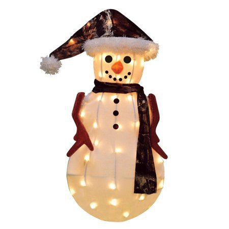 "Pre Lit Snowman Outdoor Decor Elegant 24"" Pre Lit Candy Lane Snowman In Camo Christmas Outdoor Decoration Clear Lights Walmart"