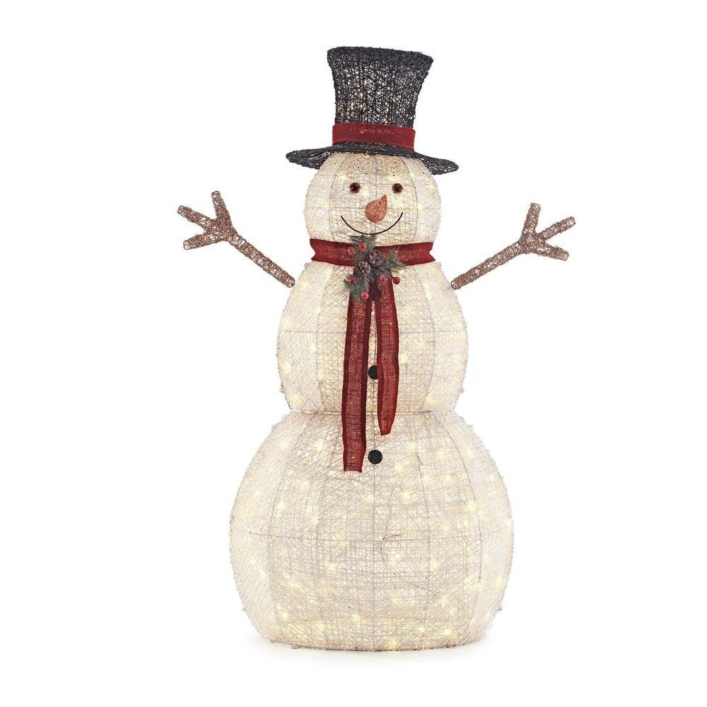 Pre Lit Snowman Outdoor Decor New Home Accents Holiday 5 Ft Pre Lit Snowman with Hat Ty314 1411 1 the Home Depot