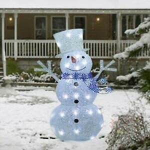 "Pre Lit Snowman Outdoor Decor Unique 36"" Lighted Pre Lit Twinkle Christmas Snowman Sculpture Outdoor Yard Art Decor"