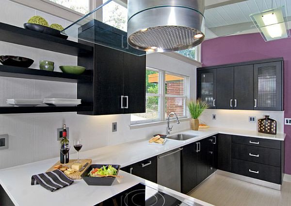 Purple and Black Kitchen Decor Inspirational Purple Wall In White and Black Kitchen Design