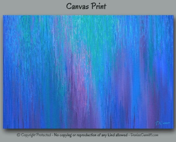 Purple and Teal Wall Decor Beautiful Abstract Print Teal Home Decor Cobalt Blue Wall Art