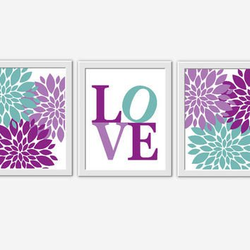 Purple and Teal Wall Decor Beautiful Baby Girl Nursery Wall Art Purple From Dezignerheartdesigns On