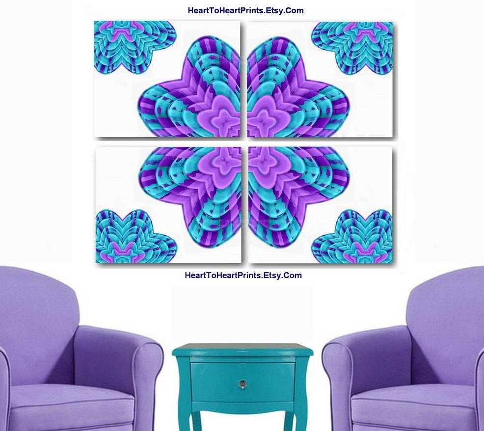 Purple and Teal Wall Decor Beautiful Teal Purple Abstract Flowers Wall Decor Mint by Hearttoheartprints