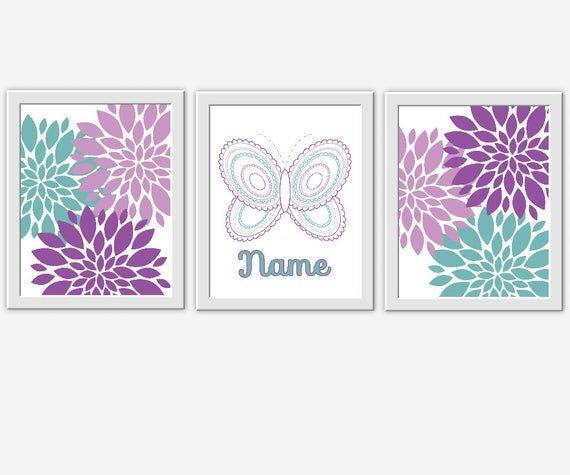 Purple and Teal Wall Decor Best Of Baby Nursery Wall Art Purple Teal butterfly Flower Burst Dahlia Girls Room Decor Baby Girl