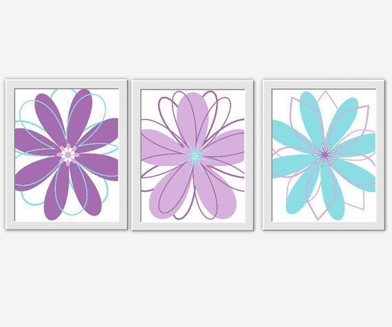 Purple and Teal Wall Decor Best Of Purple Aqua Lavender Teal Flower Prints Girl Bedroom Art Wall Decor Modern Floral Baby Girl