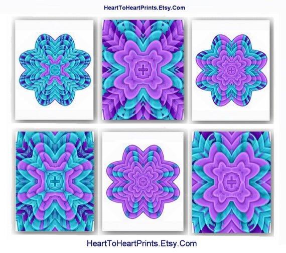 Purple and Teal Wall Decor Fresh Items Similar to Bedroom Wall Decor Purple Teal Wall Art Floral Abstract Set Of 6 Art Prints