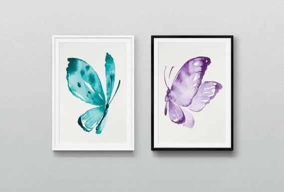 Purple and Teal Wall Decor Lovely Purple and Teal butterflies Set Art Print Printable Nursery