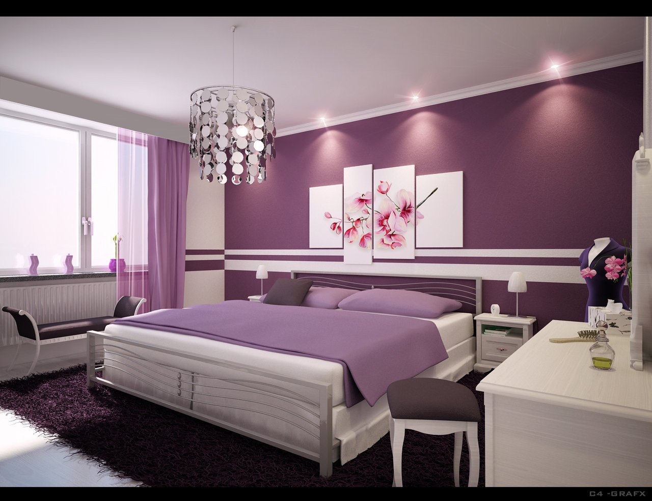 Purple Wall Decor for Bedrooms Awesome Simple Ideas for Purple Room Design
