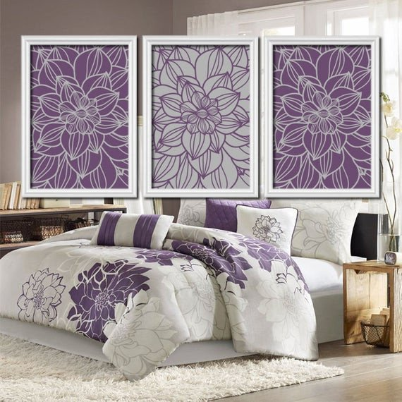 Purple Wall Decor for Bedrooms Best Of Purple Gray Bedroom Canvas or Prints Bathroom