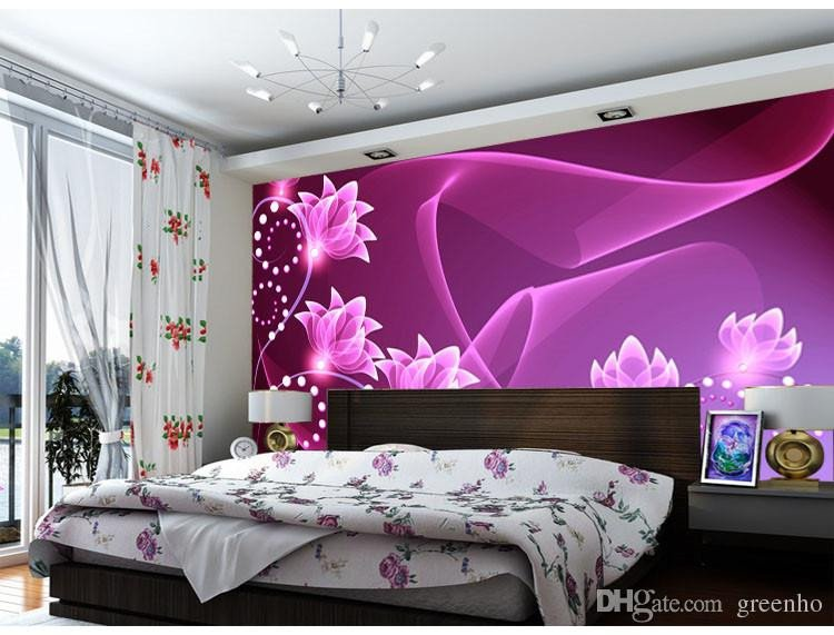 Purple Wall Decor for Bedrooms Unique Fashion Wall Mural Purple Flowers Wallpaper Dazzles Silk Wallpaper Art Decoration Bedroom