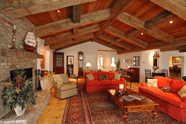 Ranch House Living Room Decorating Ideas Awesome Ranch Style with Decorative Timbers Traditional Living Room Boston by Old Hampshire