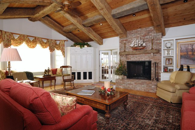 Ranch Style Living Room Ideas Elegant Ranch Style with Decorative Timbers Traditional Living Room Boston by Old Hampshire