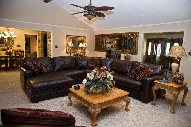 Ranch Style Home Traditional Living Room houston by Lindee Knowles Flying L Creative