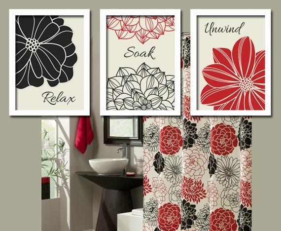 Red and Black Bathroom Decor Elegant Black Red Bathroom Wall Art Canvas or Prints Bathroom Custom Colors Set Of 3 Trio Wall Relax