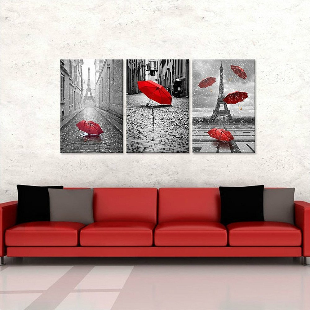Red and Black Home Decor Awesome 3 Panels Canvas Prints Wall Art Home Decor Paris Black and White tower Red Umbrella Flying