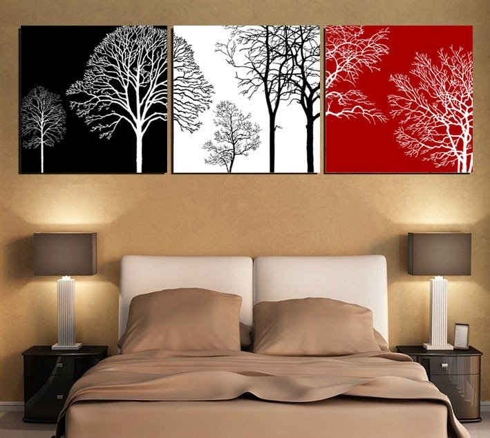 Red and Black Home Decor Luxury Black White and Red Tree Modern Wall Art Oil Painting Home Decor Picture Print On Canvas 3pcs