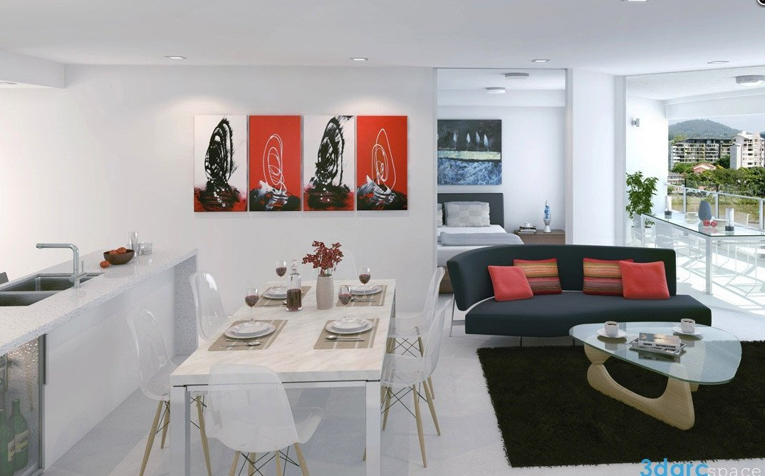 Red and Black Home Decor Luxury White Studio Apartments