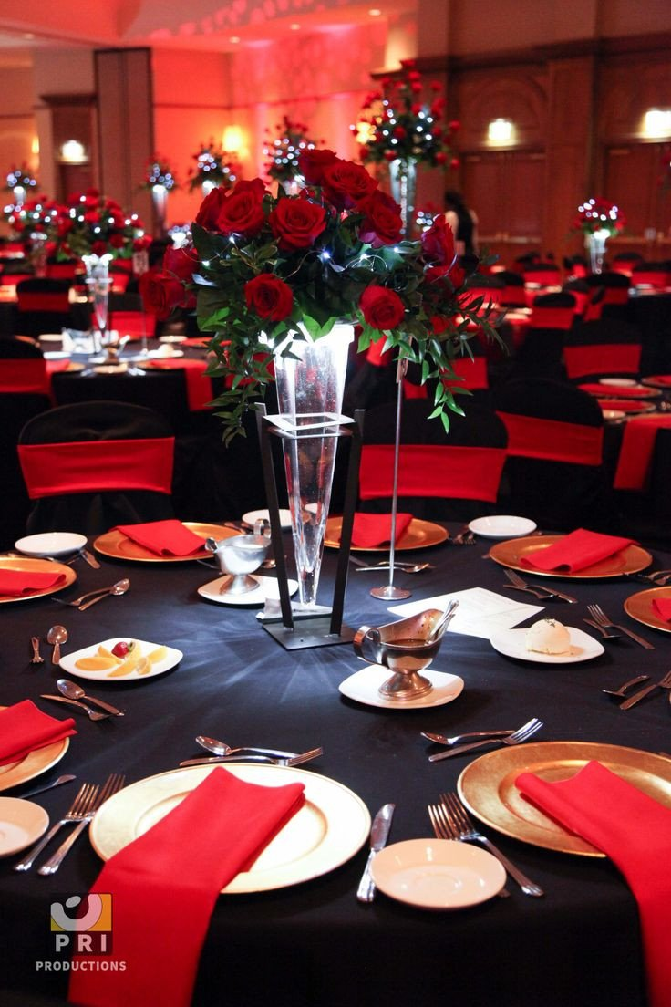 Red and Black Table Decor Beautiful Black Tie Motown event with Classic Red Rose Centerpiece and Red & Black Table Linens