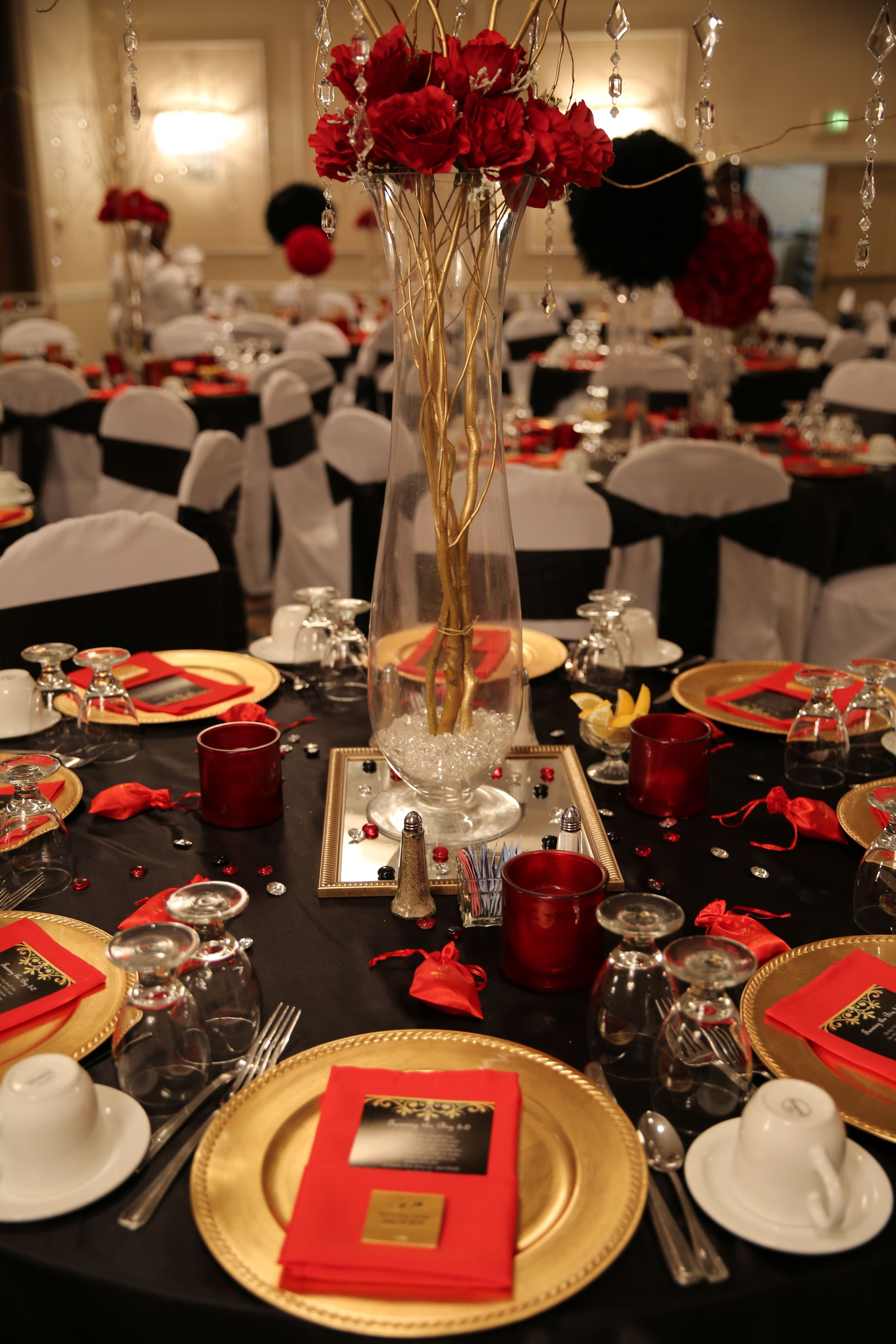 "Red and Black Table Decor Beautiful Red Black and Gold Table Decorations for 50th Birthday Party ""red Carpet Affair"""