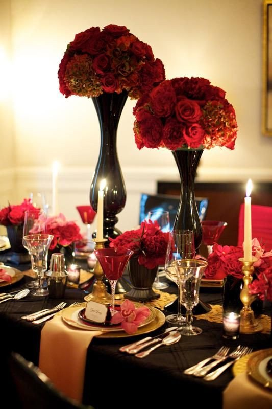 Red and Black Table Decor Elegant 10 Ways to Add Big City Glam to Your Wedding Reception