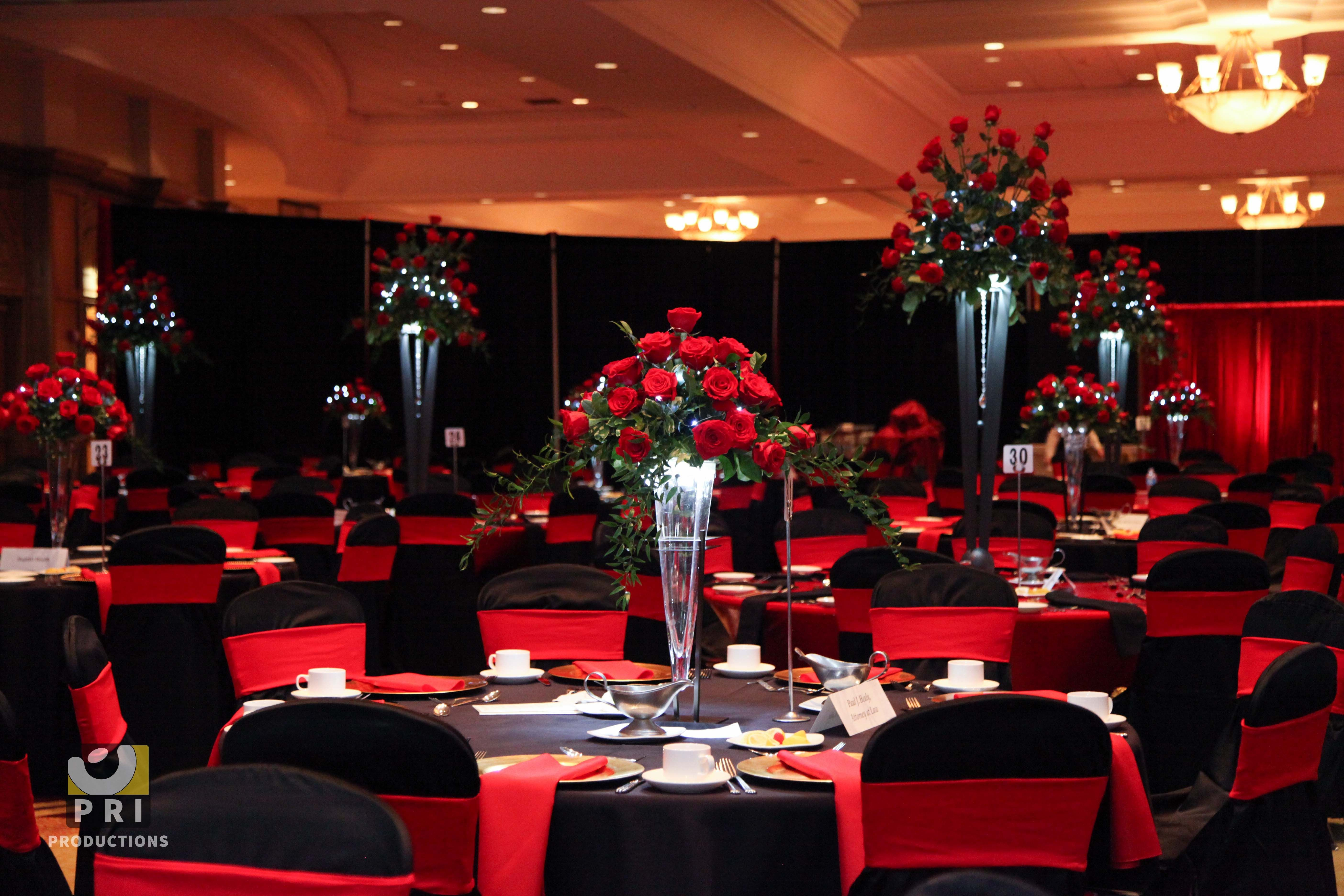 Red and Black Table Decor Fresh Black Tie event with Tall Red Rose Centerpieces Black and Red Linens