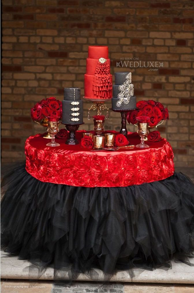 Red and Black Table Decor Fresh Stunning Wedding Cake Table Skirt Décor Ideas