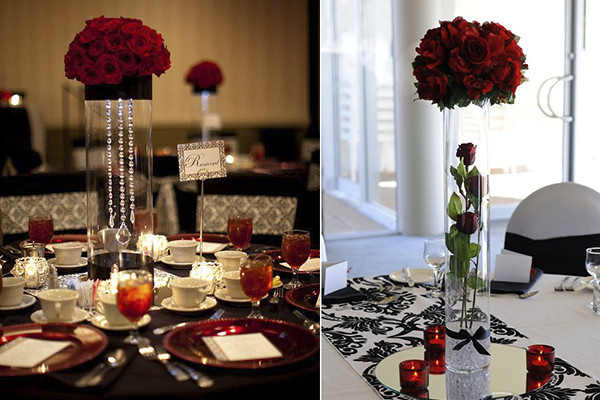 Red and Black Table Decor Fresh Wedding Decoration Ideas Red White and Black Table Centerpieces Everafterguide