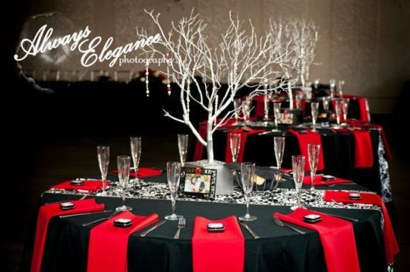 Red and Black Table Decor Inspirational Black and Red themed Wedding with Branch Centerpieces