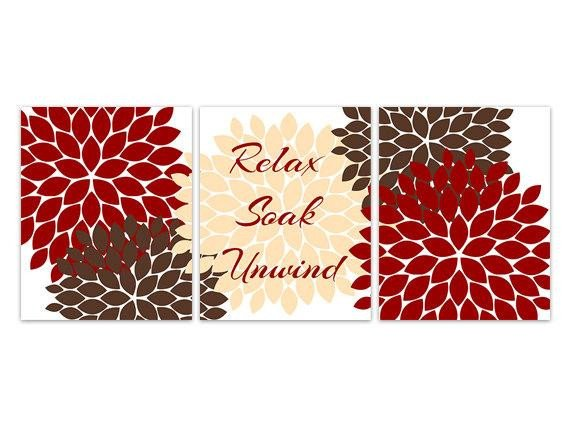Red and Brown Wall Decor Beautiful Items Similar to Bathroom Canvas Wall Art Relax soak Unwind Red and Brown Bathroom Decor