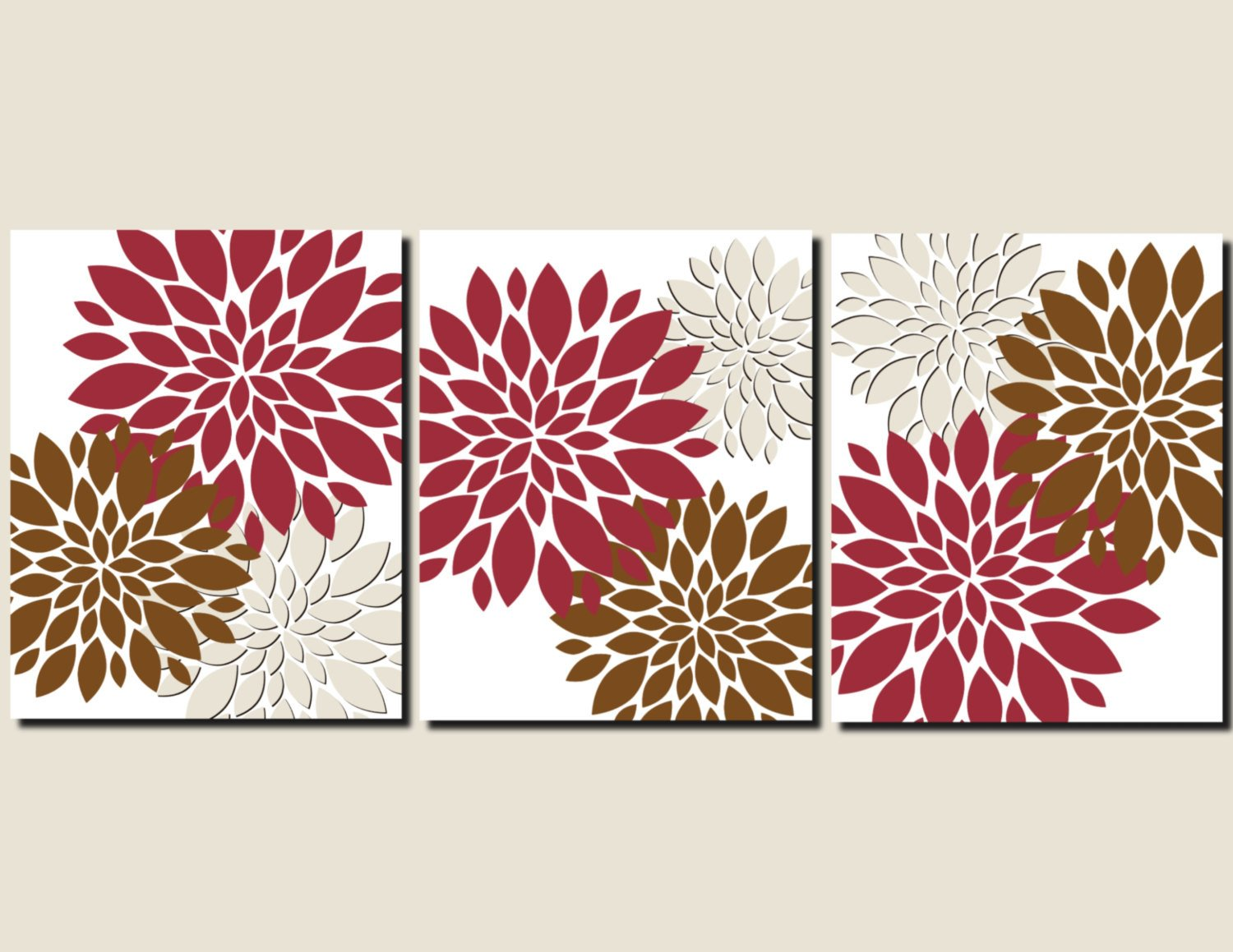 Red and Brown Wall Decor Best Of Red Brown Beige Wall Art Home Decor Flower Burst Floral