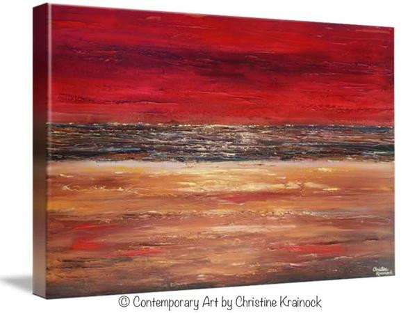 Red and Brown Wall Decor Elegant Giclee Print Art Abstract Red Painting Canvas Prints Modern Urba – Contemporary Art by