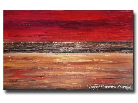 Red and Brown Wall Decor Fresh Giclee Print Art Abstract Red Painting Canvas Prints Modern Urban Wall – Contemporary Art by