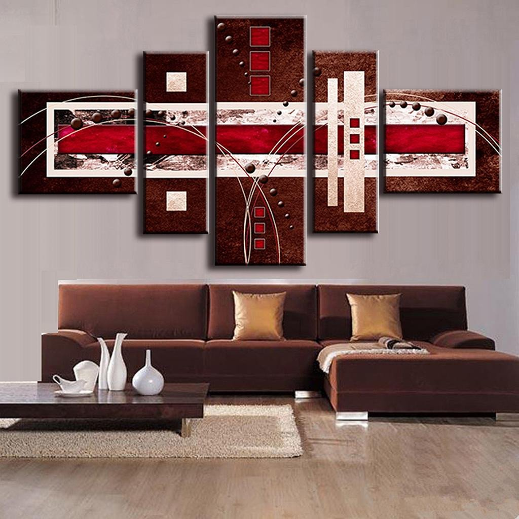 Red and Brown Wall Decor New Aliexpress Buy 5 Pcs Set Bined Modern Abstract Oil Painting Brown Red Cream Canvas Wall