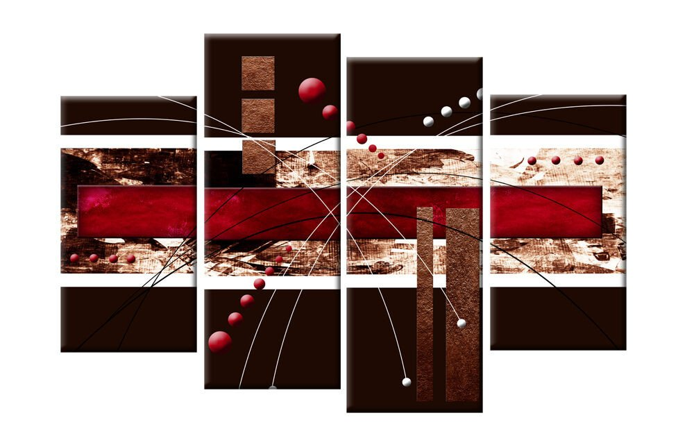 Red and Brown Wall Decor Unique Red Brown Abstract Canvas 4 Panel Wall Art Split Pictures 4 Panel 40 Rdy 2 Hang
