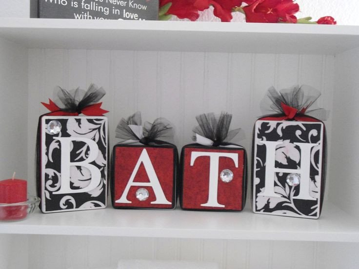 Red and White Bathroom Decor Awesome Blocks Wooden Bathroom Decor Black and White Damask with Red Accent Bathroom