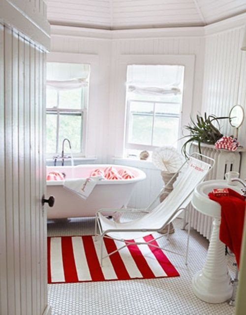 Red and White Bathroom Decor Lovely Red and White Country Cottage Bathroom 39 Cool and Bold Red Bathroom Design Ideas