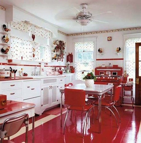 Red and White Kitchen Decor Fresh 25 Inspiring Retro Kitchen Designs