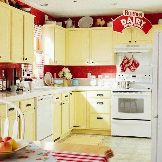 Red and Yellow Kitchen Decor Beautiful Yellow Red Vintage Kitchen