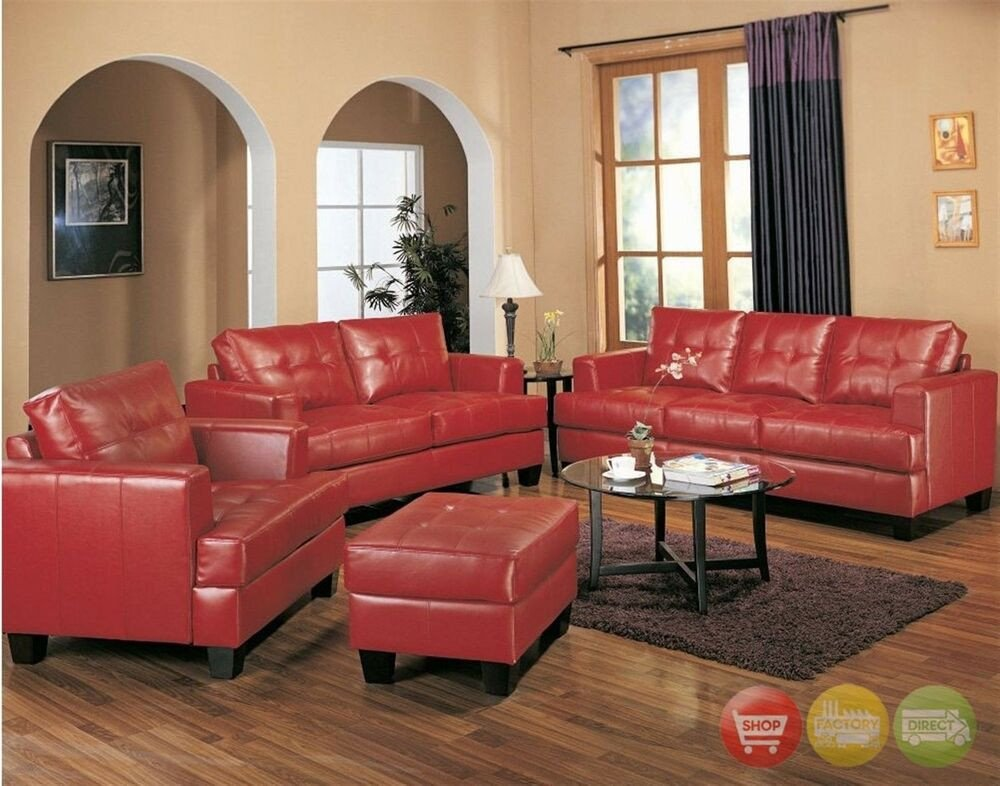 Red Couch Living Room Decor Elegant Samuel Red Bonded Leather sofa & Loveseat Contemporary Living Room Furniture Set