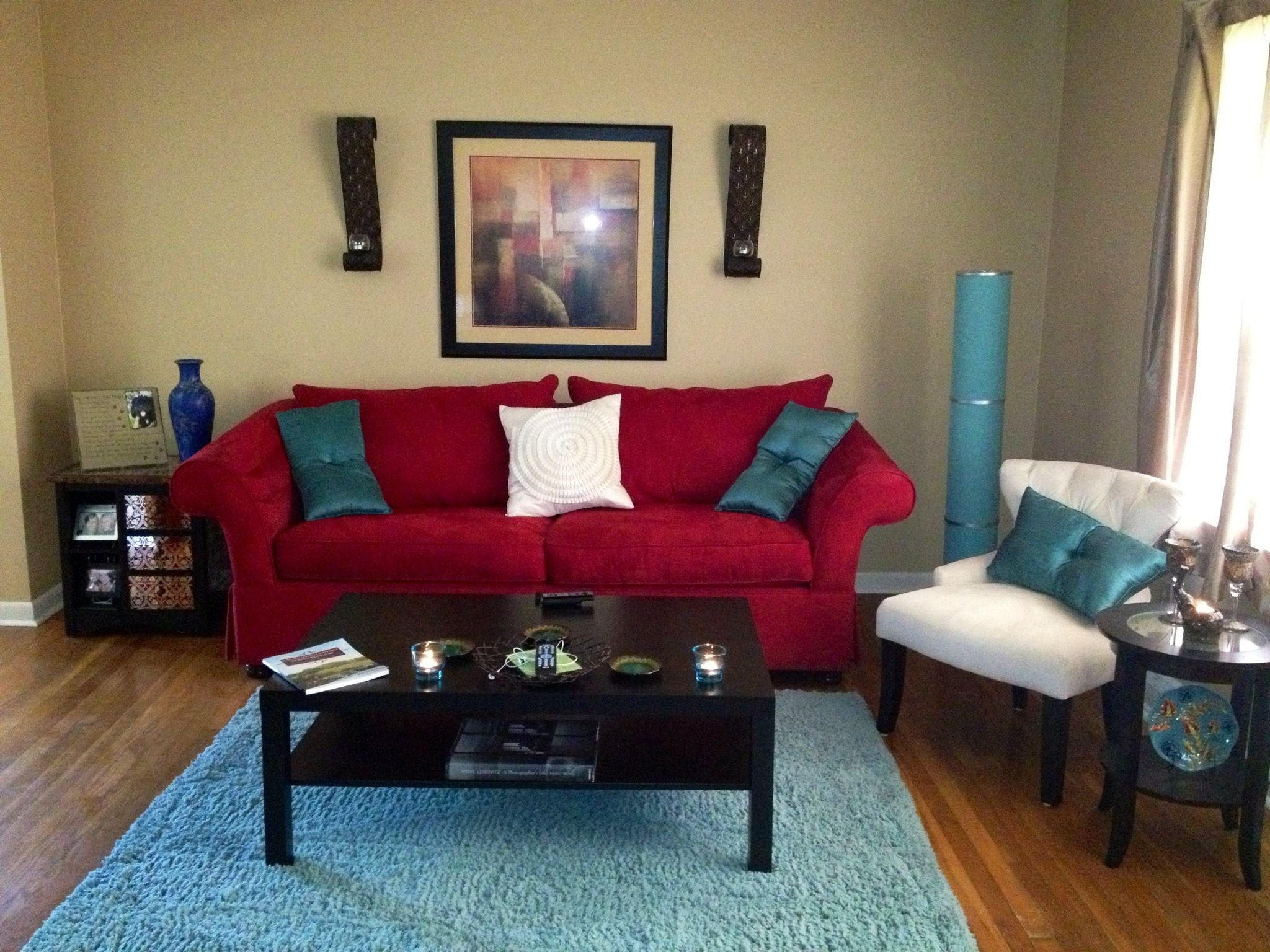 Red Couch Living Room Decor Lovely My Living Room Red Aqua and Ivory