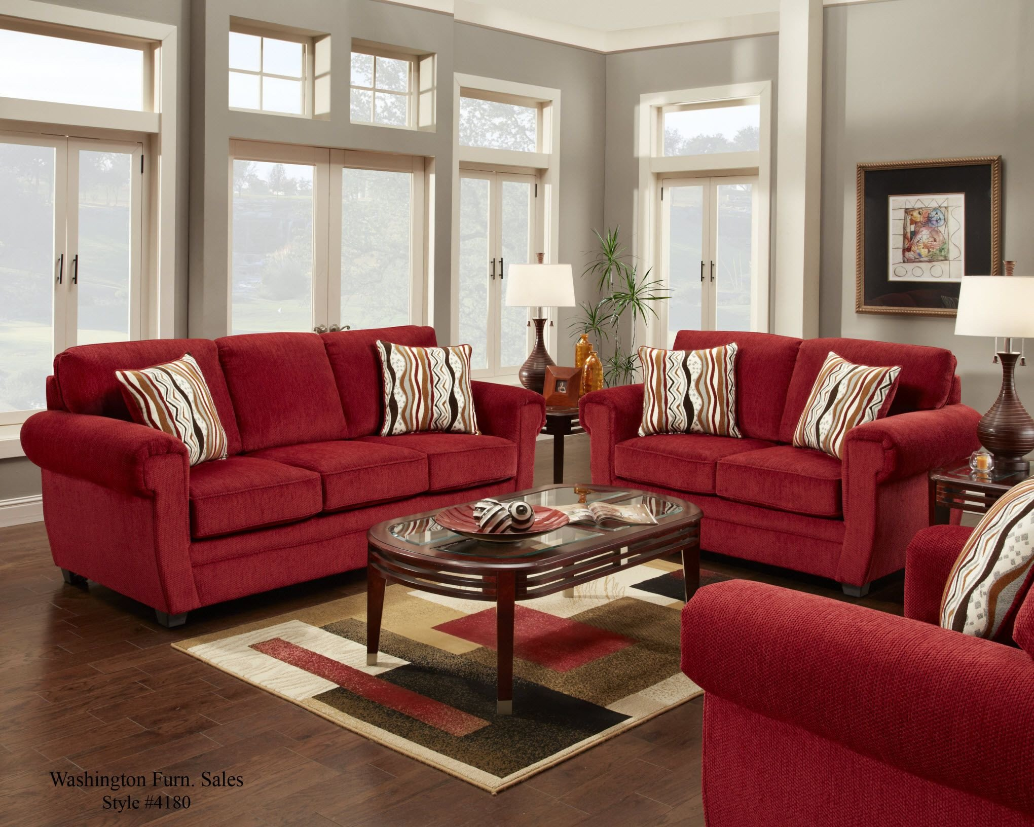 Red Couch Living Room Decor New 4180 Washington Samson Red sofa and Loveseat